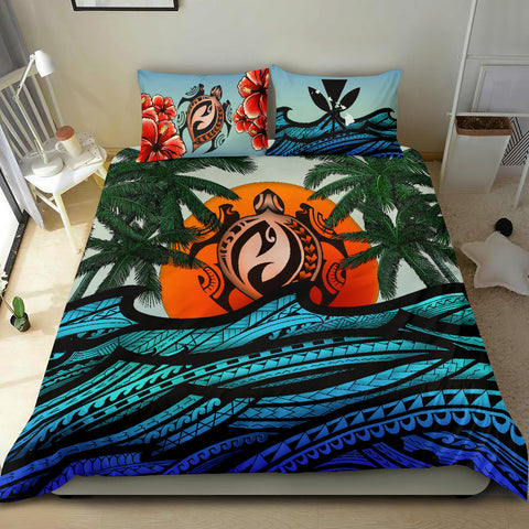 Image of Kanaka Maoli (Hawaiian) Bedding Set - Polynesian Waves Turtle Coconut Tree And Hibiscus | Love The World