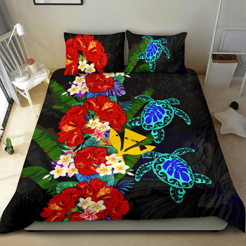 Kanaka Maoli (Hawaiian) Bedding Set - Polynesian Hibiscus Turtle Palm Leaves