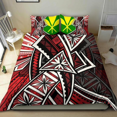 Hawaii Bedding Set - Tribal Flower Special Pattern Red Color - BN20