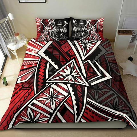 Image of Fiji Bedding Set  - Tribal Flower Special Pattern Red Color - BN20
