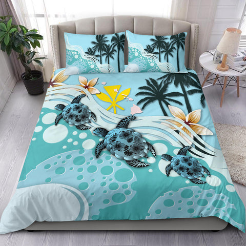 Image of Kanaka Maoli (Hawaiian) Bedding Set - Blue Turtle Hibiscus A24