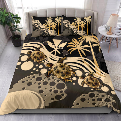 Image of Hawaii Bedding Set - Gold Turtle Hibiscus A24