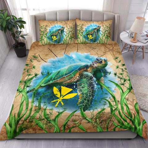 Image of Hawaii Kanaka Maoli Bedding Set Sea Turtle Vintage