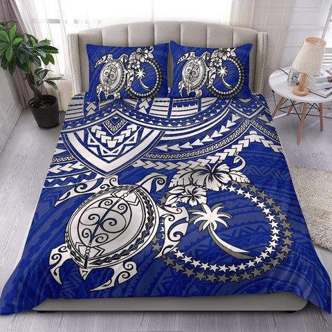 Chuuk Polynesian Bedding Set  - White Turtle (Blue)