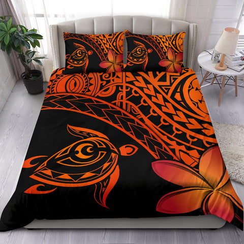 Tahiti Tribal Turtle Plumeria Bedding Set | Tahitian Home Set