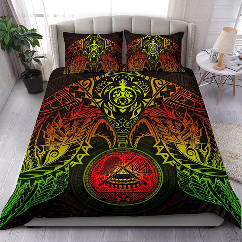 Image of American Samoa Polynesian Duvet Cover Set - Reggae Turtle Manta Ray