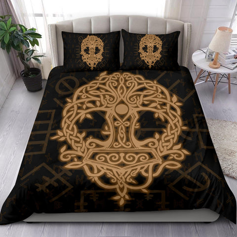 Image of Norse Viking Bedding Set - Thor's Hammer Yggdrasil - Gold - J5