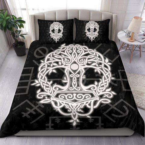 Image of Norse Viking Bedding Set - Thor's Hammer Yggdrasil - J5