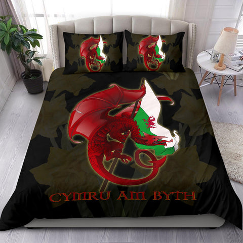 Welsh Bedding Set - Welsh Myth Dragon Red and Wales Flag Daffodil A18