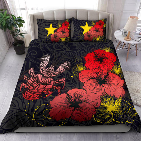 Niue Hibiscus Turtle Polynesian Bedding Set - Style Red A10