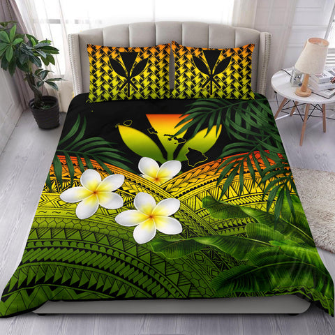 Kanaka Maoli (Hawaiian) Bedding Set, Polynesian Plumeria Banana Leaves Reggae | Love The World
