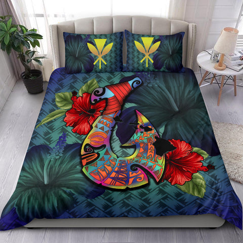 Image of Kanaka Maoli (Hawaiian) Bedding Set -Polynesian Fish Hook Hibiscus A24