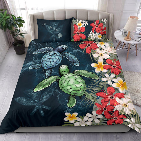 Kanaka Maoli (Hawaiian) Bedding Set - Sea Turtle Tropical Hibiscus And Plumeria A24