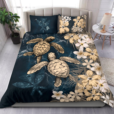 Kanaka Maoli (Hawaiian) Quilt Bed set - Sea Turtle Tropical Hibiscus And Plumeria Gold A24
