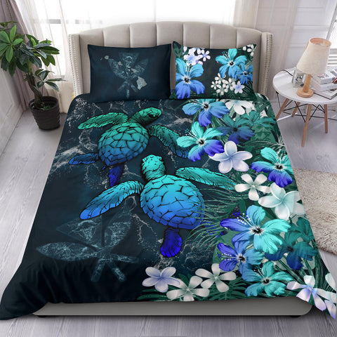 Image of Kanaka Maoli (Hawaiian) Bedding set - Sea Turtle Tropical Hibiscus And Plumeria Blue A24