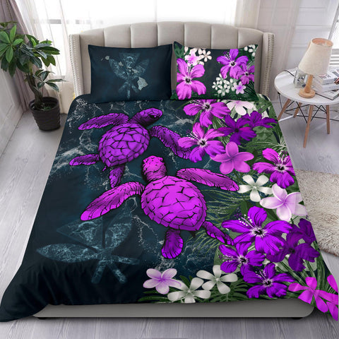 Kanaka Maoli (Hawaiian) Bedding Set - Sea Turtle Tropical Hibiscus And Plumeria Purple A24