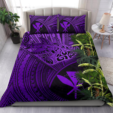 Kanaka Maoli (Hawaii) Bedding Set Shark Polynesian mix Coconut Tree, Palm Leaves