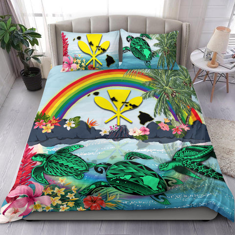 Image of Kanaka Maoli Hawaii Bedding Set, Green Sea Turtle Polynesian Rainbow K8