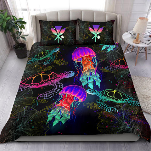 Kanaka Maoli (Hawaiian) Bedding Set - Turtle And Jellyfish Colorful | Love The World