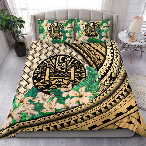 Image of Tahiti Bedding Set - Lauhala Polynesian Hibiscus Gold | Love The World