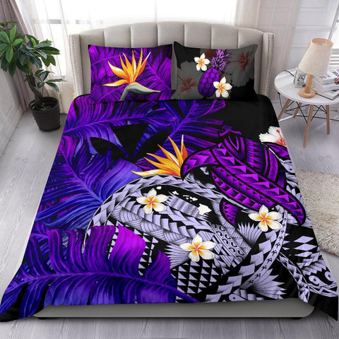 Image of Kanaka Maoli (Hawaiian) Bedding Set, Polynesian Pineapple Banana Leaves Turtle Tattoo Purple A02