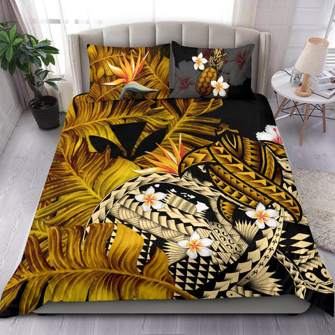 Kanaka Maoli (Hawaiian) Bedding Set, Polynesian Pineapple Banana Leaves Turtle Tattoo Yellow A02