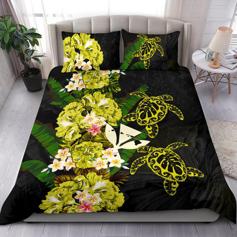 Kanaka Maoli (Hawaiian) Bedding Set - Polynesian Hibiscus Turtle Palm Leaves Yellow I Love The World