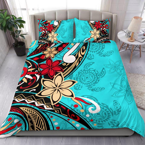 Polynesian Bedding Set - Tribal Flower With Special Turtles Blue Color - BN20