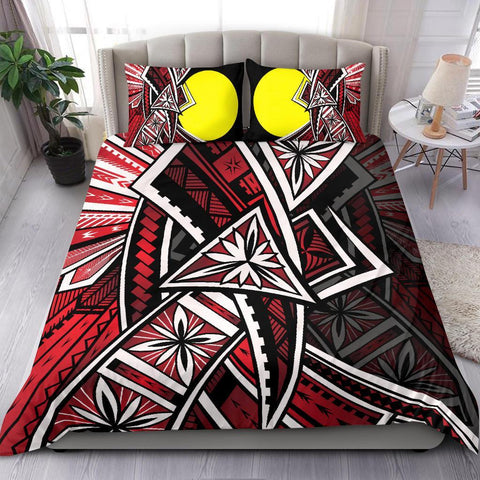 Palau Polynesian Bedding Set -  Tribal Flower Special Pattern Red Color - BN20