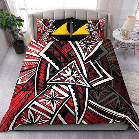 Tokelau Polynesian Bedding Set - Tribal Flower Special Pattern Red Color - BN20