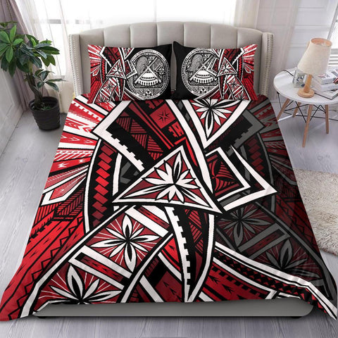 American Samoa Bedding Set - Tribal Flowers Special Pattern Red Color - BN20