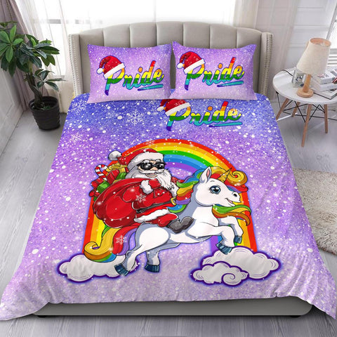 Rainbow Santa Claus And Unicon - Bedding Set