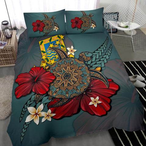 Tuvalu Bedding Set - Blue Turtle Tribal A02