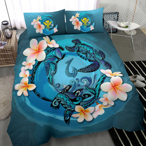 Image of Hawaii Bedding Set, Blue Plumeria Animal Turtle Tattoo  A24