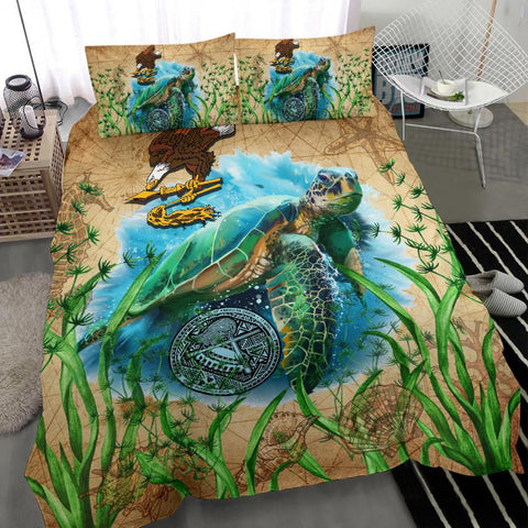 Image of American Samoa Bedding Set Sea Turtle Vintage - Duvet Cover | 1sttheworld.com