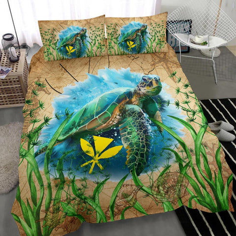 Hawaii Kanaka Maoli Bedding Set Sea Turtle Vintage | 1sttheworld.com
