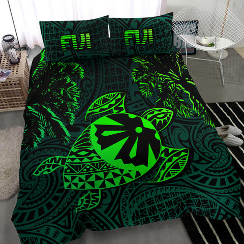 Fiji Islands Green Tapa Turtle Bedding Set - Fijian Bedding Set