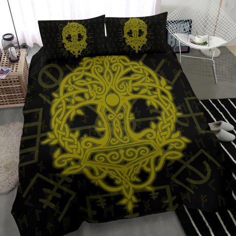 Image of Norse Viking Bedding Set - Thor's Hammer Yggdrasil - Yellow - J5