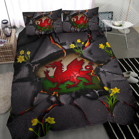 Wales Bedding Set - Welsh Dragon Daffodil Lava | Love The World