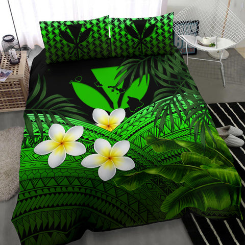 Kanaka Maoli (Hawaiian) Bedding Set, Polynesian Plumeria Banana Leaves Green | Love The World