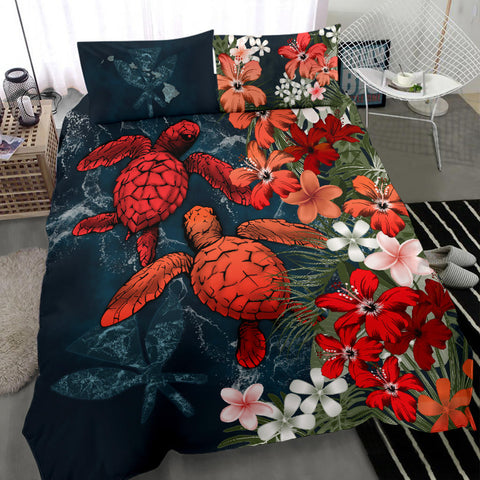 Kanaka Maoli (Hawaiian) Bedding Set - Sea Turtle Tropical Hibiscus And Plumeria Red A24