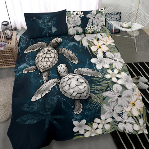 Kanaka Maoli (Hawaiian) Bedding Set - Sea Turtle Tropical Hibiscus And Plumeria White A24