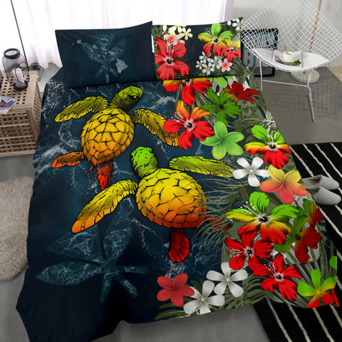 Kanaka Maoli (Hawaiian) Bedding set - Sea Turtle Tropical Hibiscus And Plumeria Reggae A24