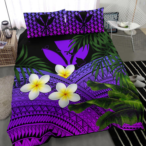 Kanaka Maoli (Hawaiian) Bedding Set, Polynesian Plumeria Banana Leaves Purple