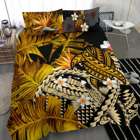 Image of Kanaka Maoli (Hawaiian) Bedding Set, Polynesian Pineapple Banana Leaves Turtle Tattoo Yellow A02