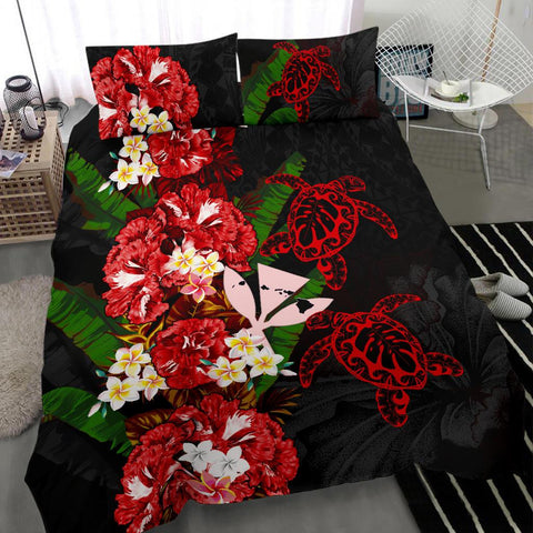 Kanaka Maoli (Hawaiian) Bedding Set - Polynesian Hibiscus Turtle Palm Leaves Red I Love The World