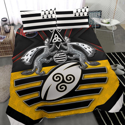 Bretagne Rugby with Celtic Triskelion and Stoat Ermine Sport Bedding Set