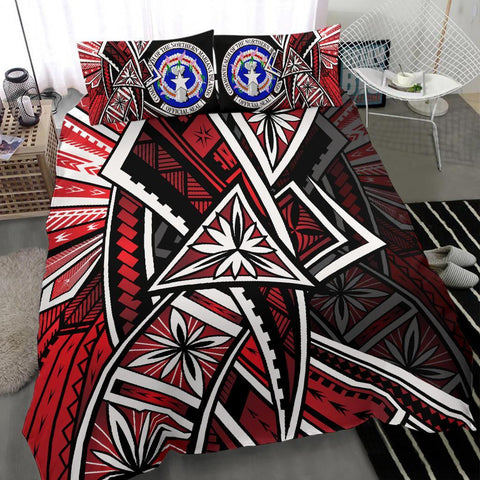 Northern Mariana Bedding Set - Tribal Flower Special Pattern Red Color - BN20