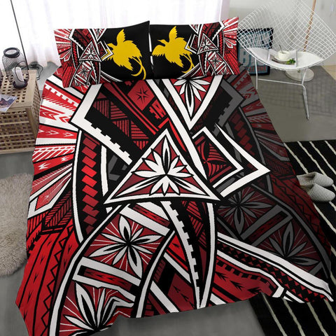 Papua Polynesian Bedding Set - Tribal Flower Special Pattern Red Color - BN20