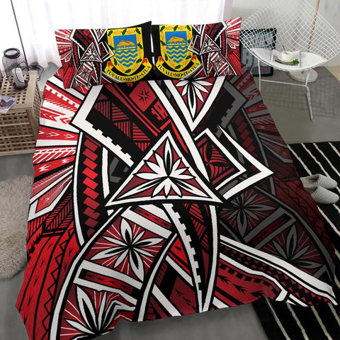 Tuvalu Polynesian Bedding Set - Tribal Flower Special Pattern Red Color - BN20